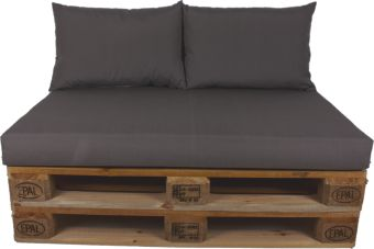 Palletkussen set plof Antraciet 120x80x10 cm